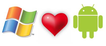 Microsoft logo, Copyright © Microsoft Corp. Red Heart Rising, Copyright © Bernhard Aichinger, image used under license. Android logo, Copyright © Google, Inc.