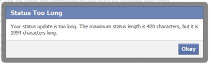 Facebook Status Too Long